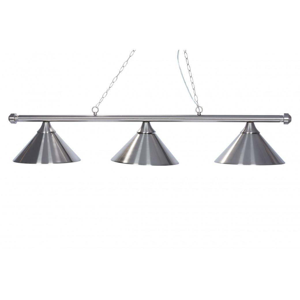 Lustre 3 lampes en acier chromé et brossé
