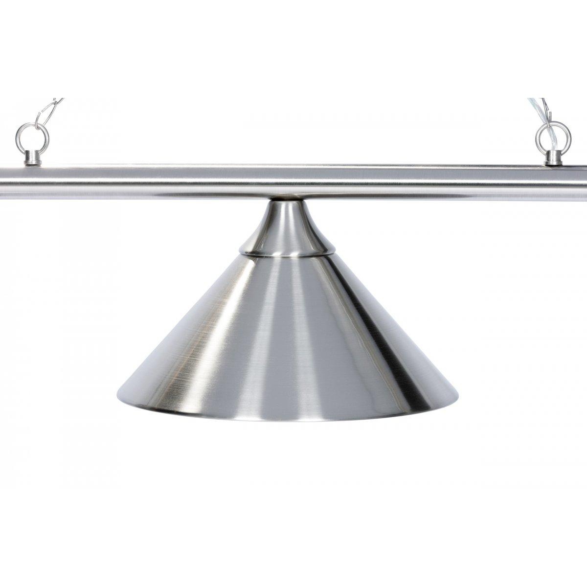 lustre 3 lampes en acier chrom et bross billards de france. Black Bedroom Furniture Sets. Home Design Ideas