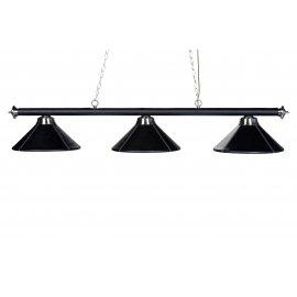 Lustre 3 lampes en cuir synthétique avec surpiqures blanches