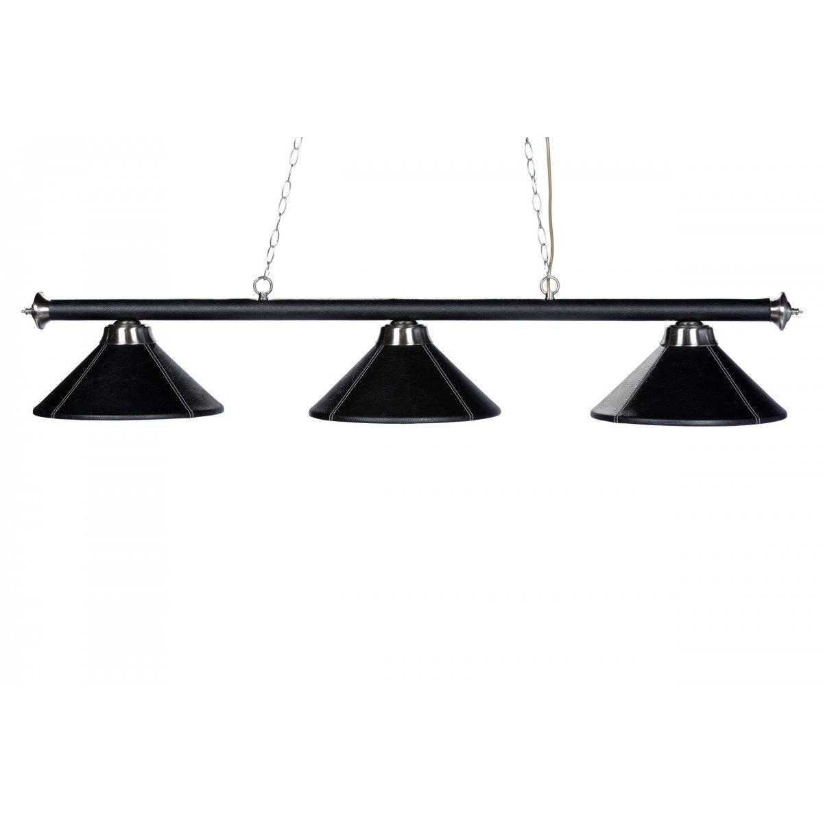 lustre 3 lampes en cuir synth tique avec surpiqures blanches billards de france. Black Bedroom Furniture Sets. Home Design Ideas
