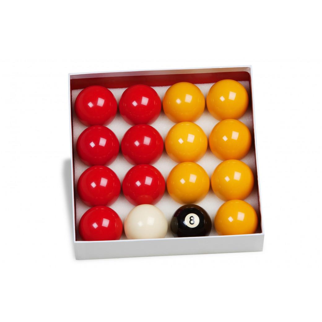 16 billes Pool diamètre 57 mm + une règle du jeu