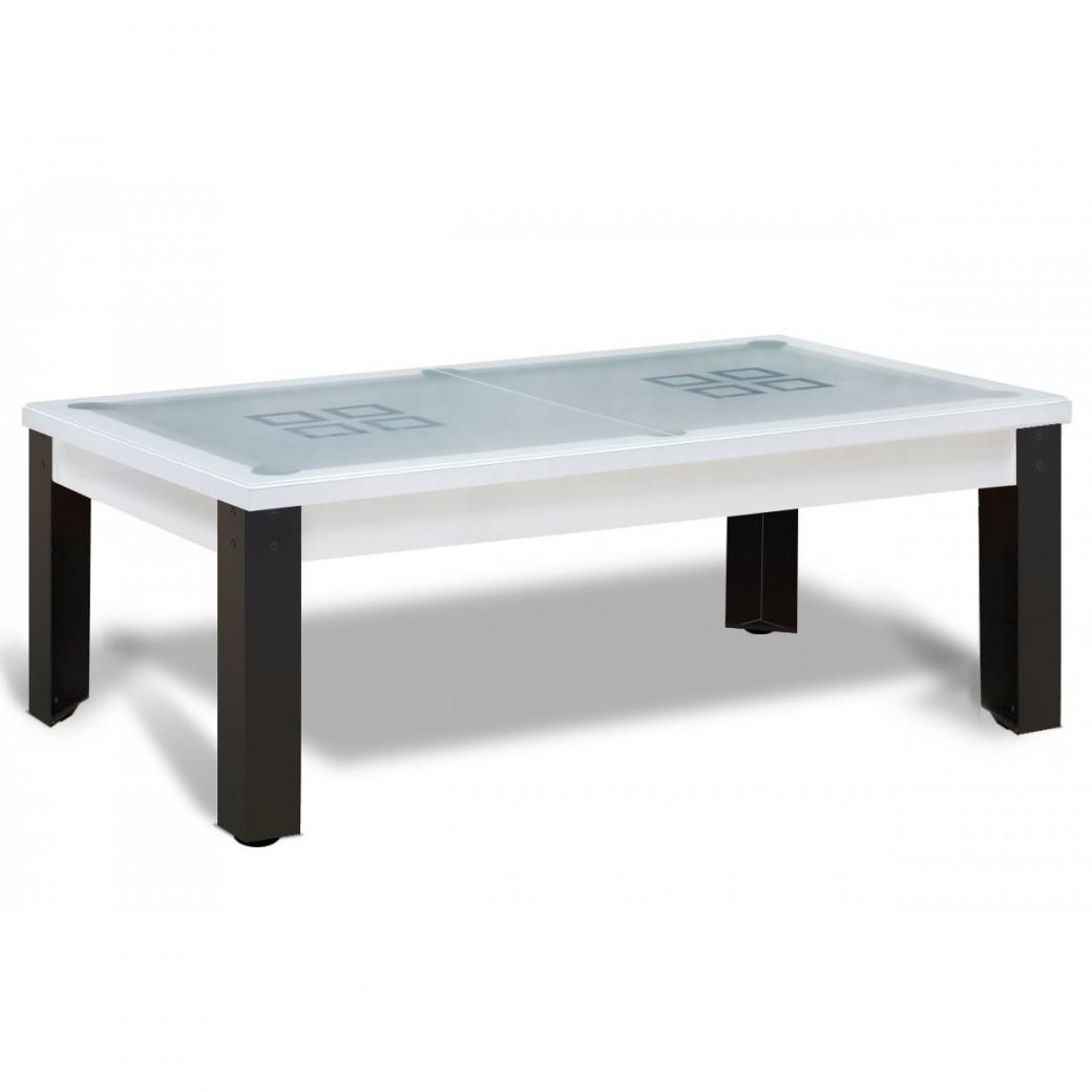 Billard transformable : dessus de table verre en 2 parties
