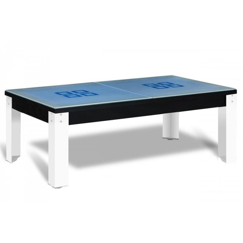 Billard transformable avec pieds métalliques blancs et billard table noir