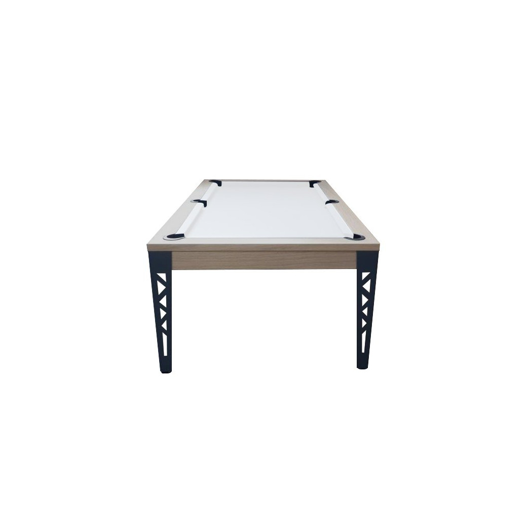 Billard table, drap de billard blanc vue de côté
