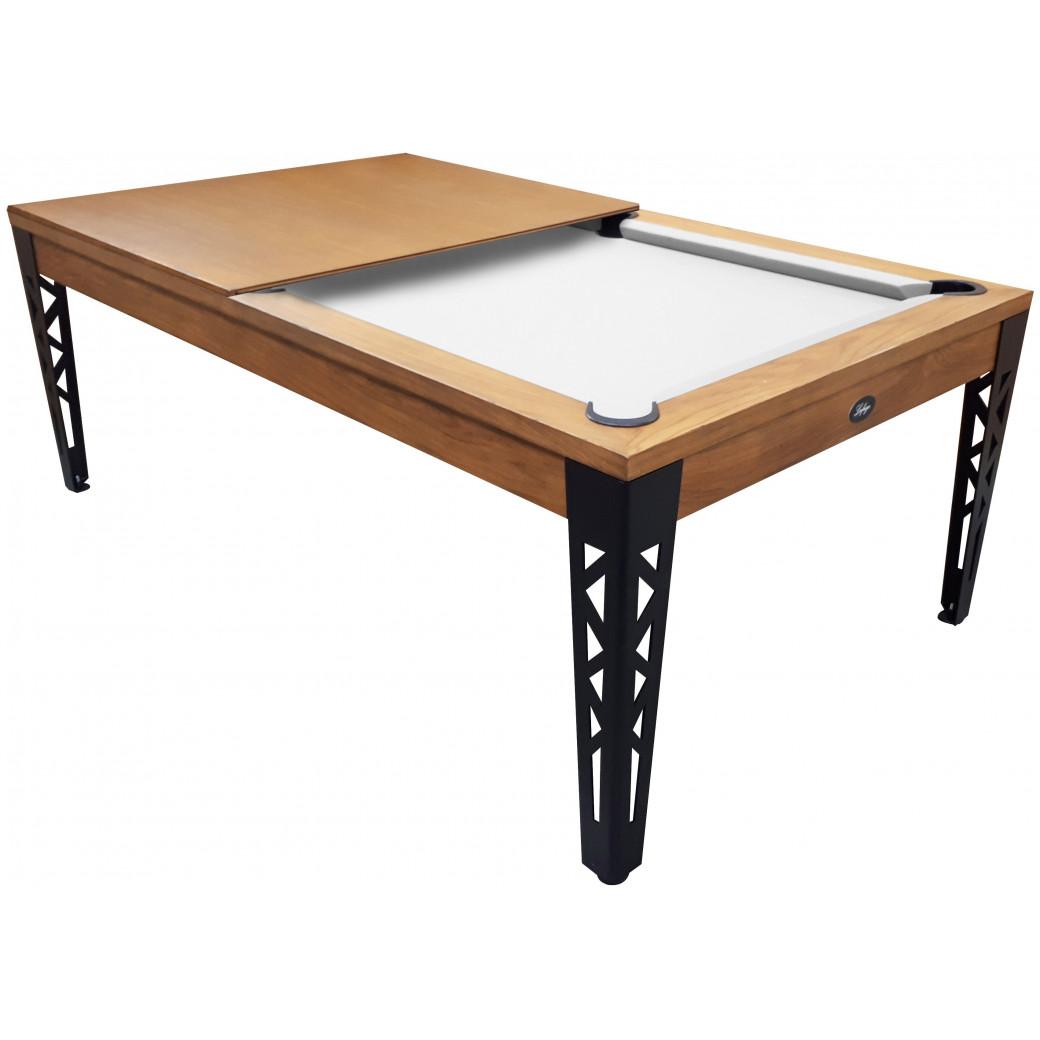 Table billard industriel : patine antiquaire avec du vieux bois