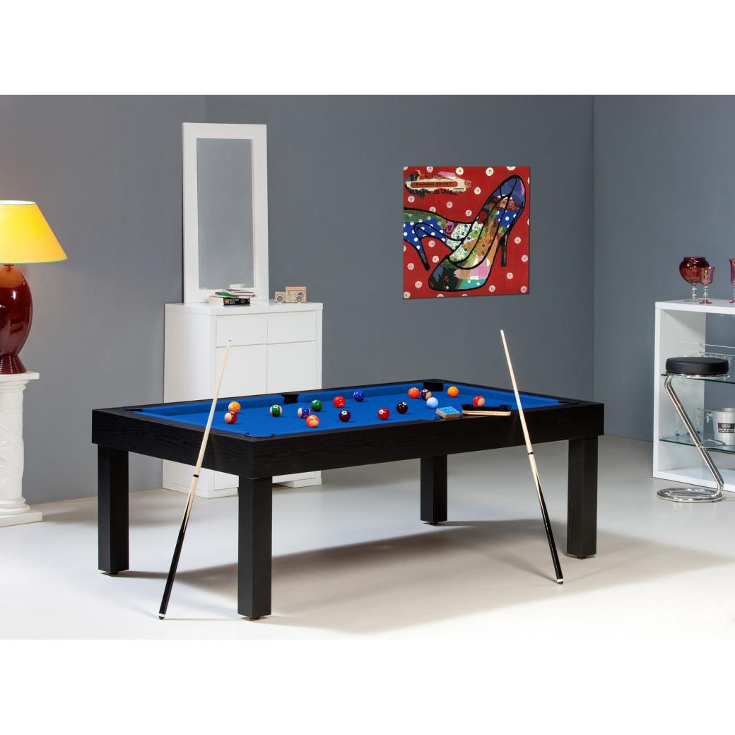 Billard table américain : Bora-Bora noir et drap de billard bleu