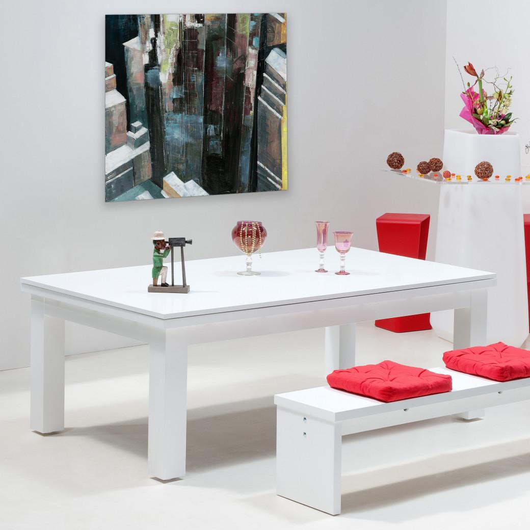 Table billard convertible, jeux de billard blanc avec dessus de table bois