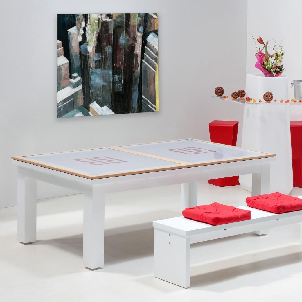 Table billard convertible, dessus de table bois et verre