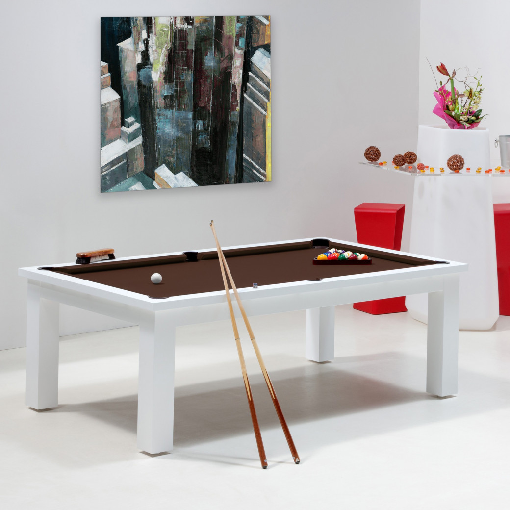 Billard chocolat, table billard convertible