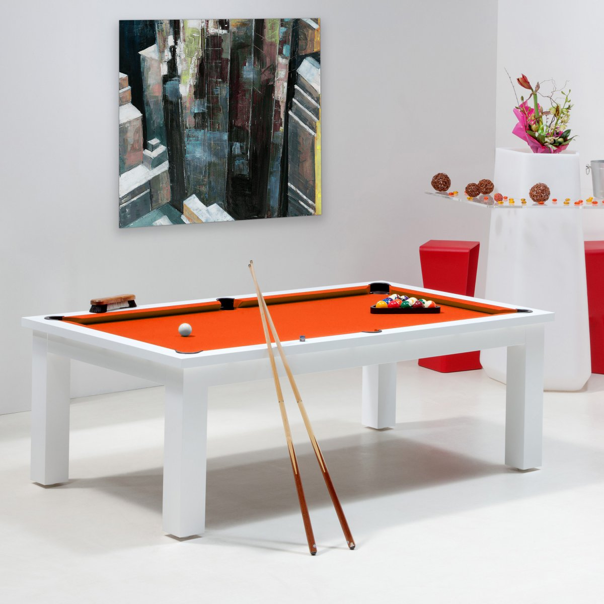 Billard jeux de billard table billard blanc new york for Table billard convertible belgique