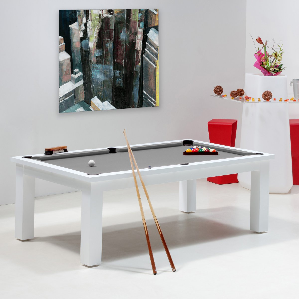 Billard jeux de billard table billard blanc new york - Table de billard transformable en table de salle a manger ...