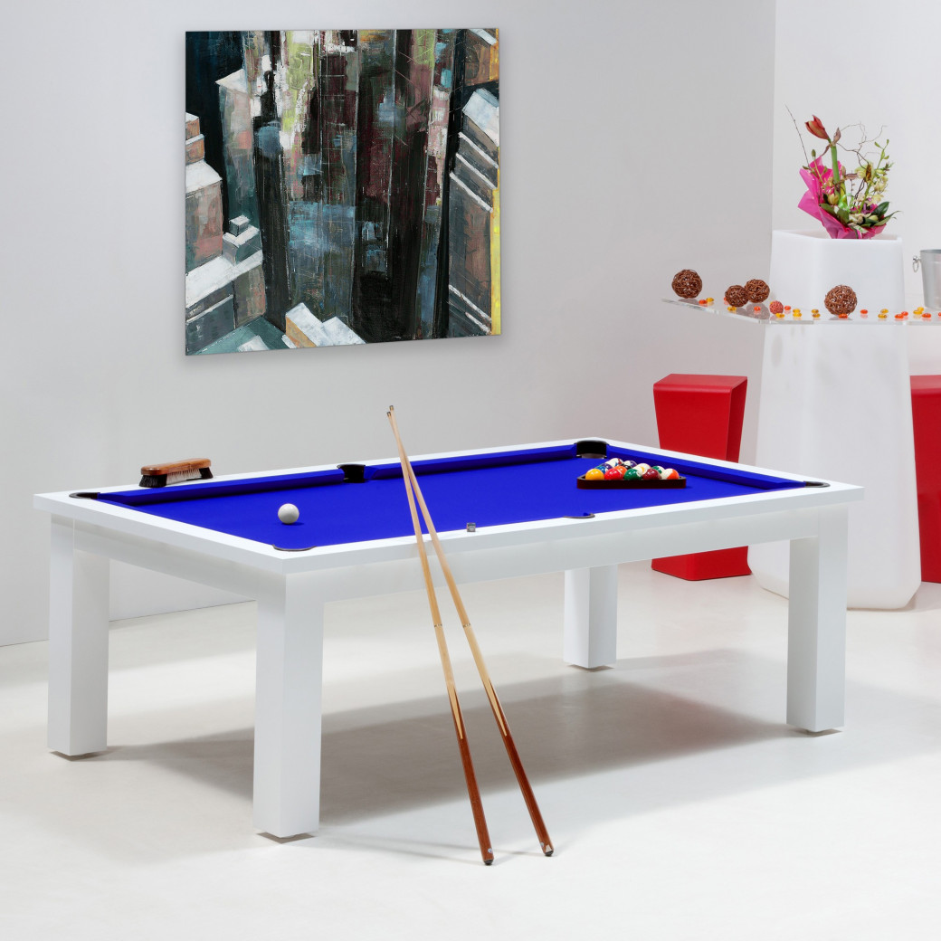 Billard, table de billard bleu royal