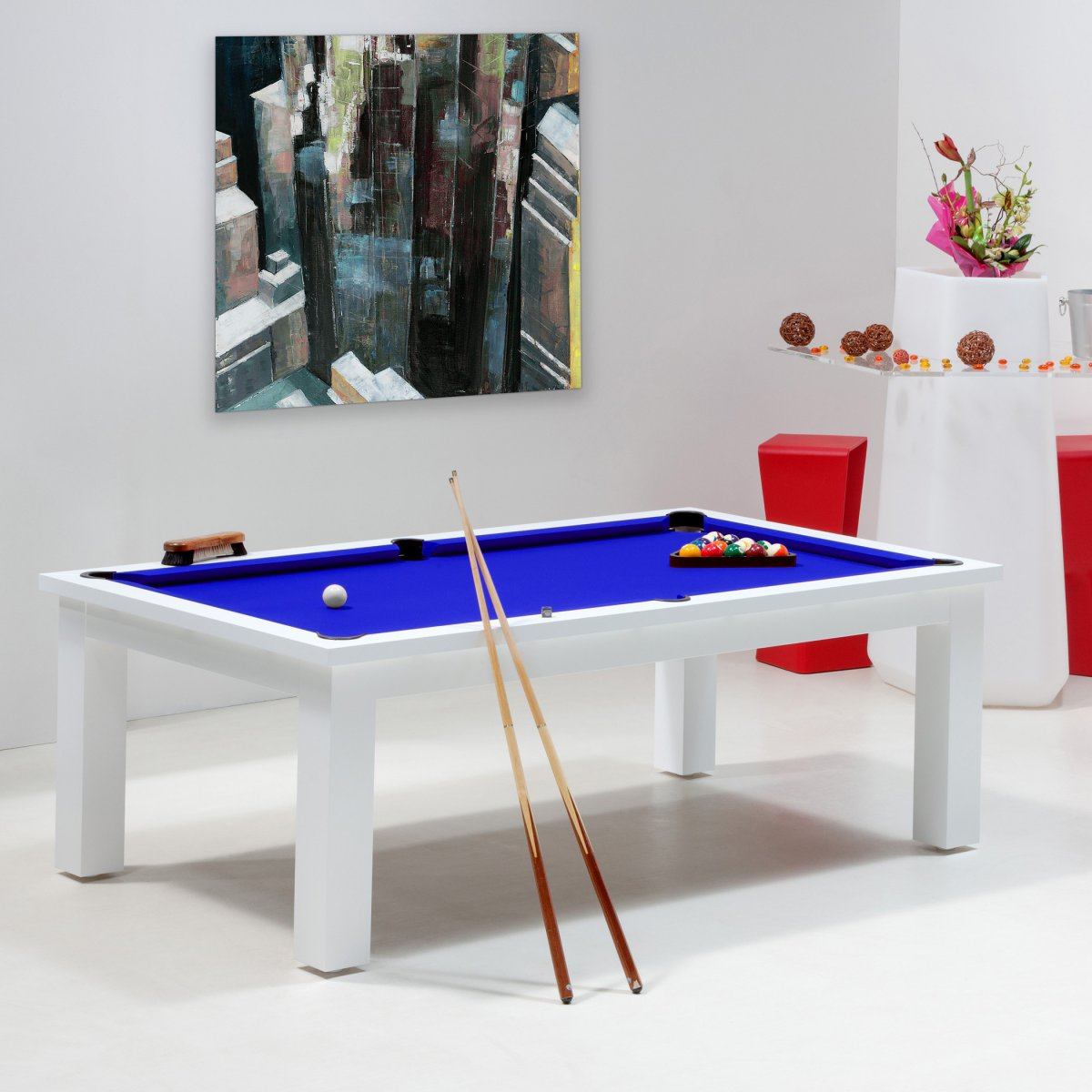 Billard jeux de billard table billard blanc new york - Billard transformable en table ...