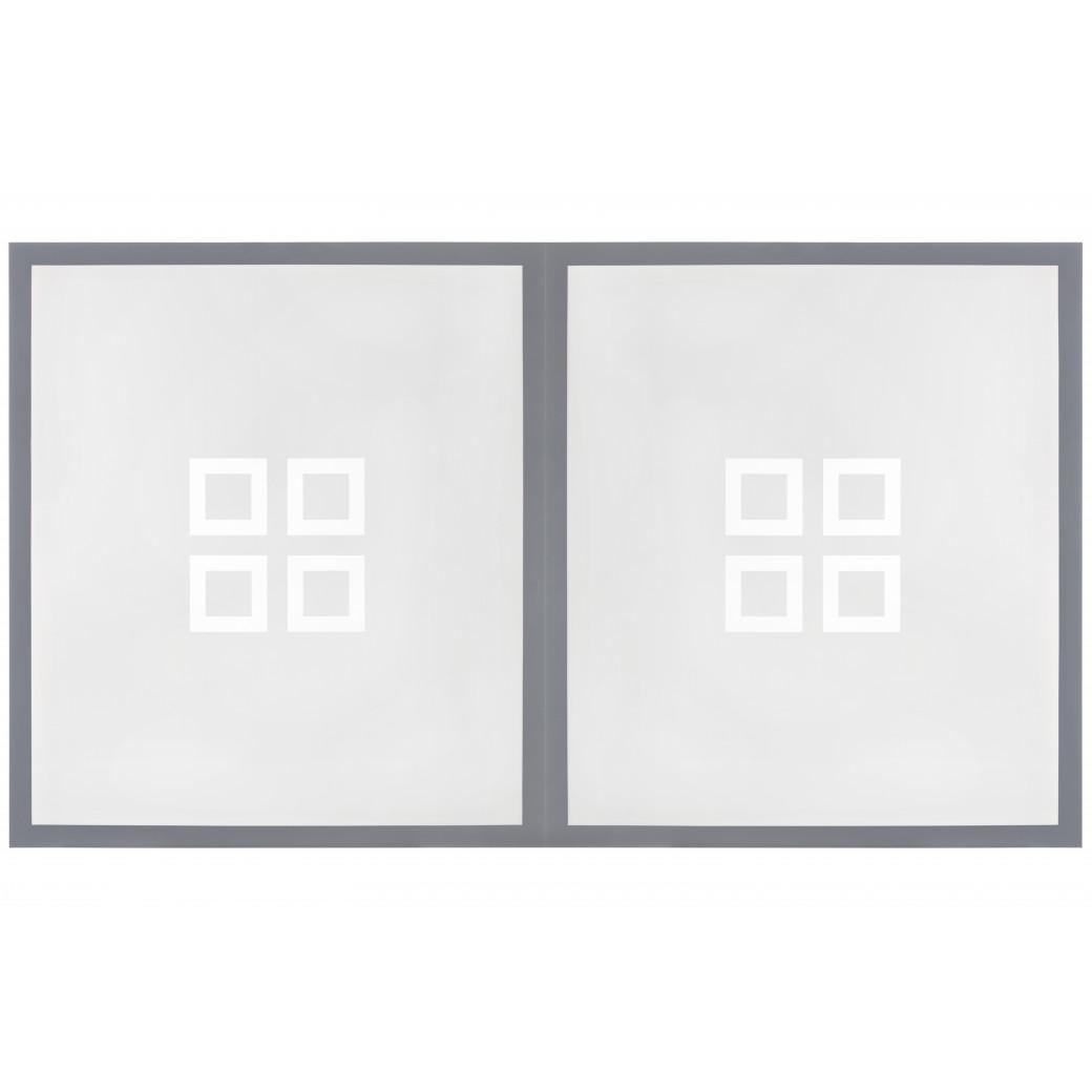 Table billard transformable : Dessus de table en verre et cadre bois gris