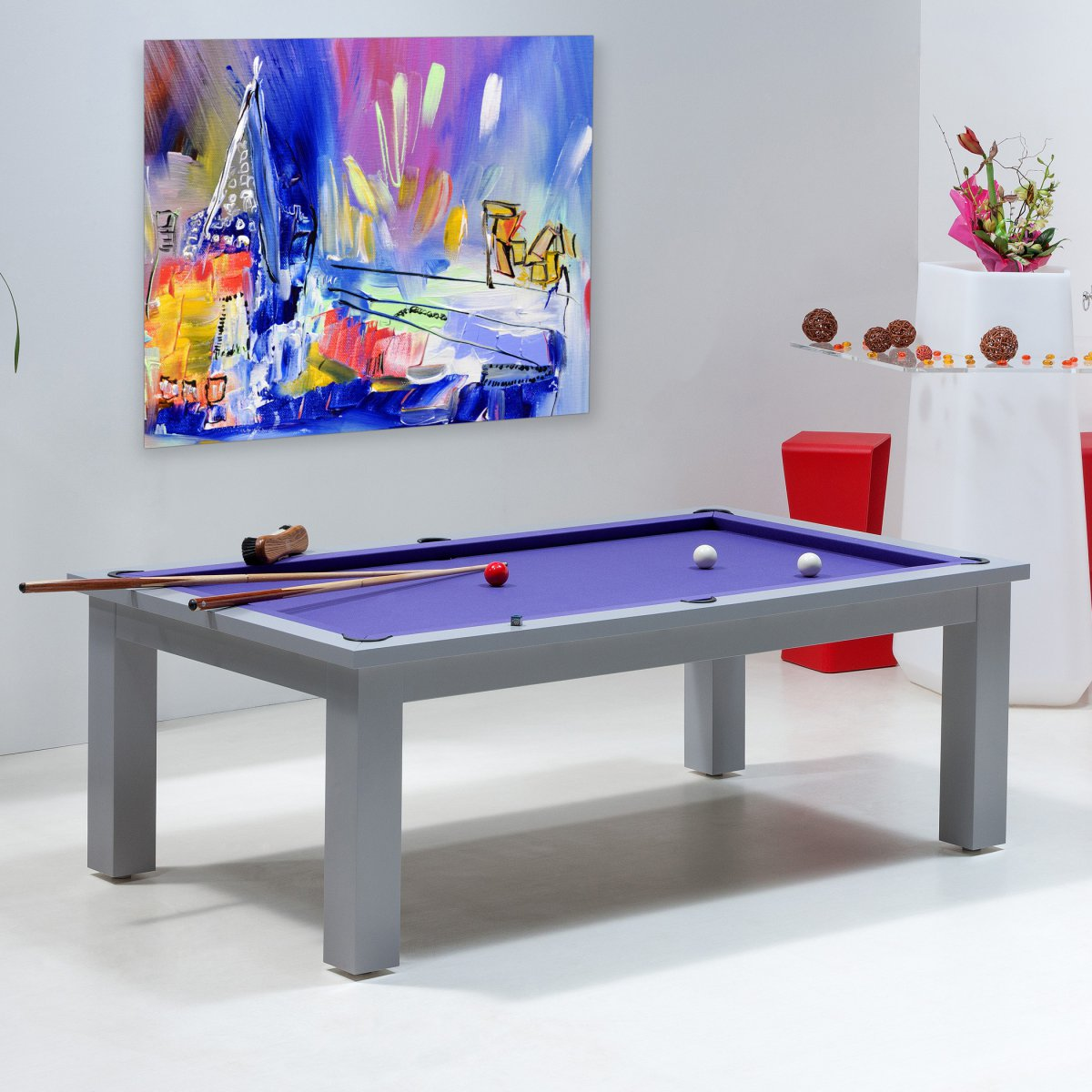 Table billard convertible billard transformable table boston for Table a manger salon