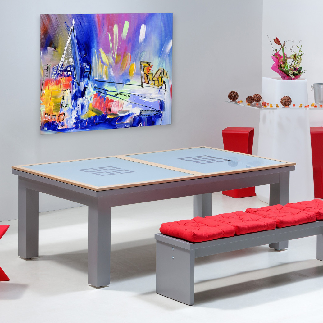 Table de billard transformable, dessus de table à manger verre et bois