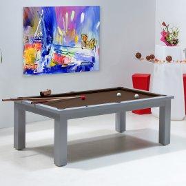 Billard transformable en table, tapis de billard couleur chocolat