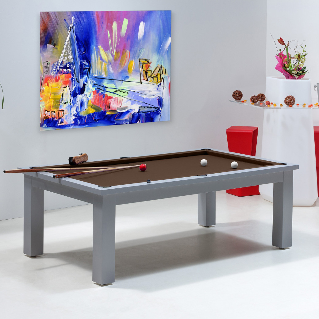 Billard transformable en table, tapis de billard couleur chocolat
