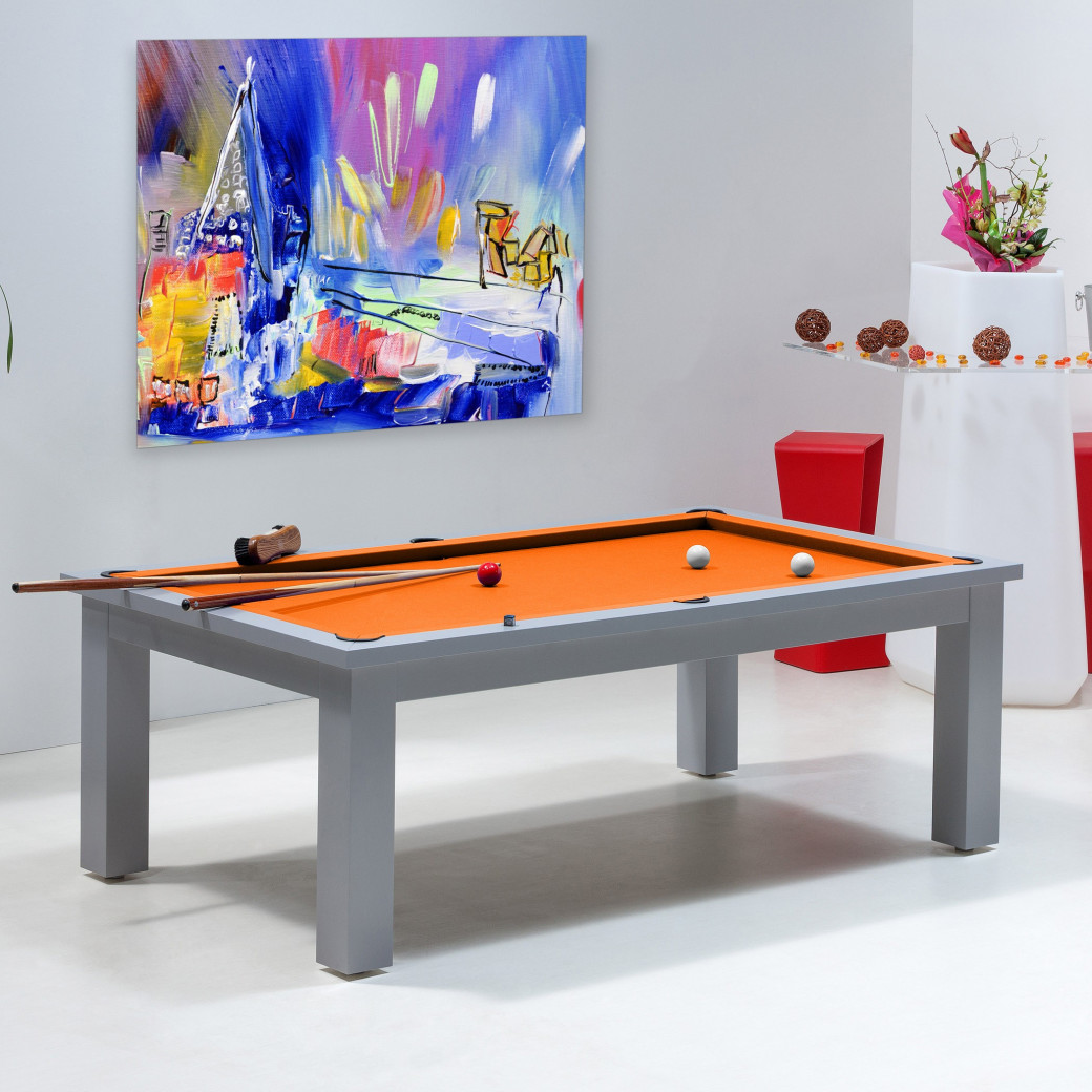 Billard transformable table, tapis orange et jeu pool