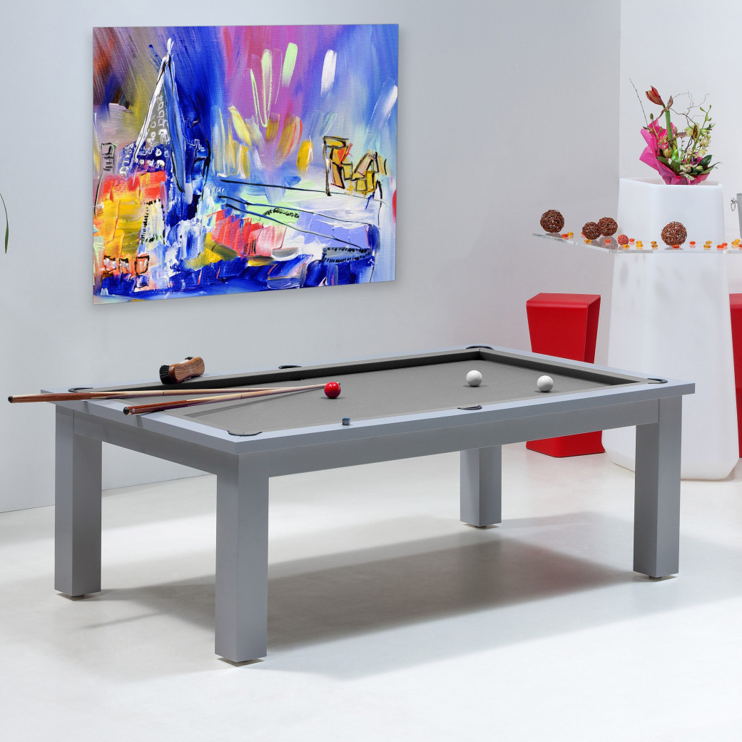 billard transformable, avec tapis gris