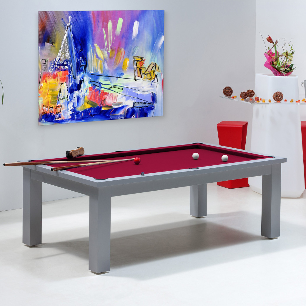 tables billards transformables, couleur de tapis bordeaux