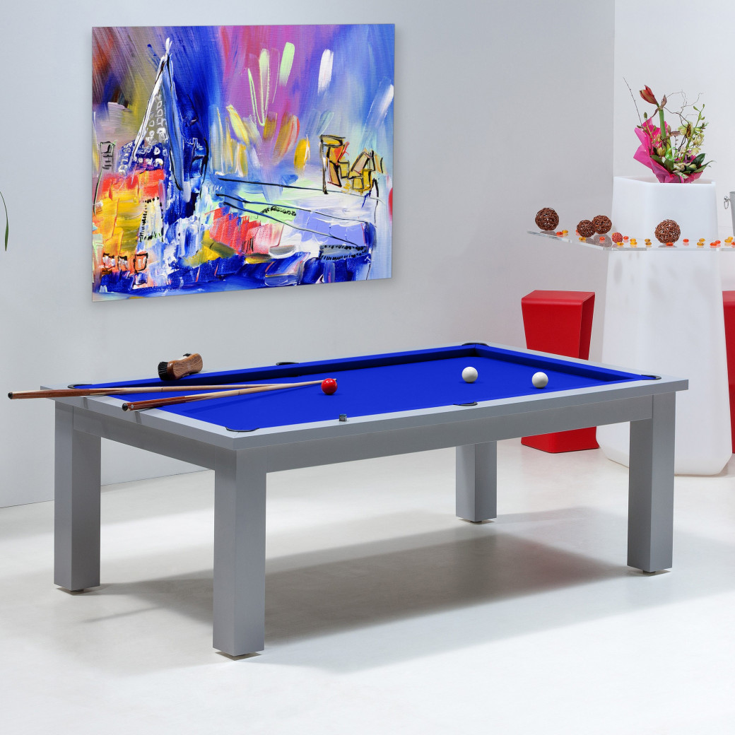 Table billard convertible, tapis bleu royal pour billards transformables