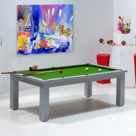 table billard convertible, billard tapis vert pool transformable