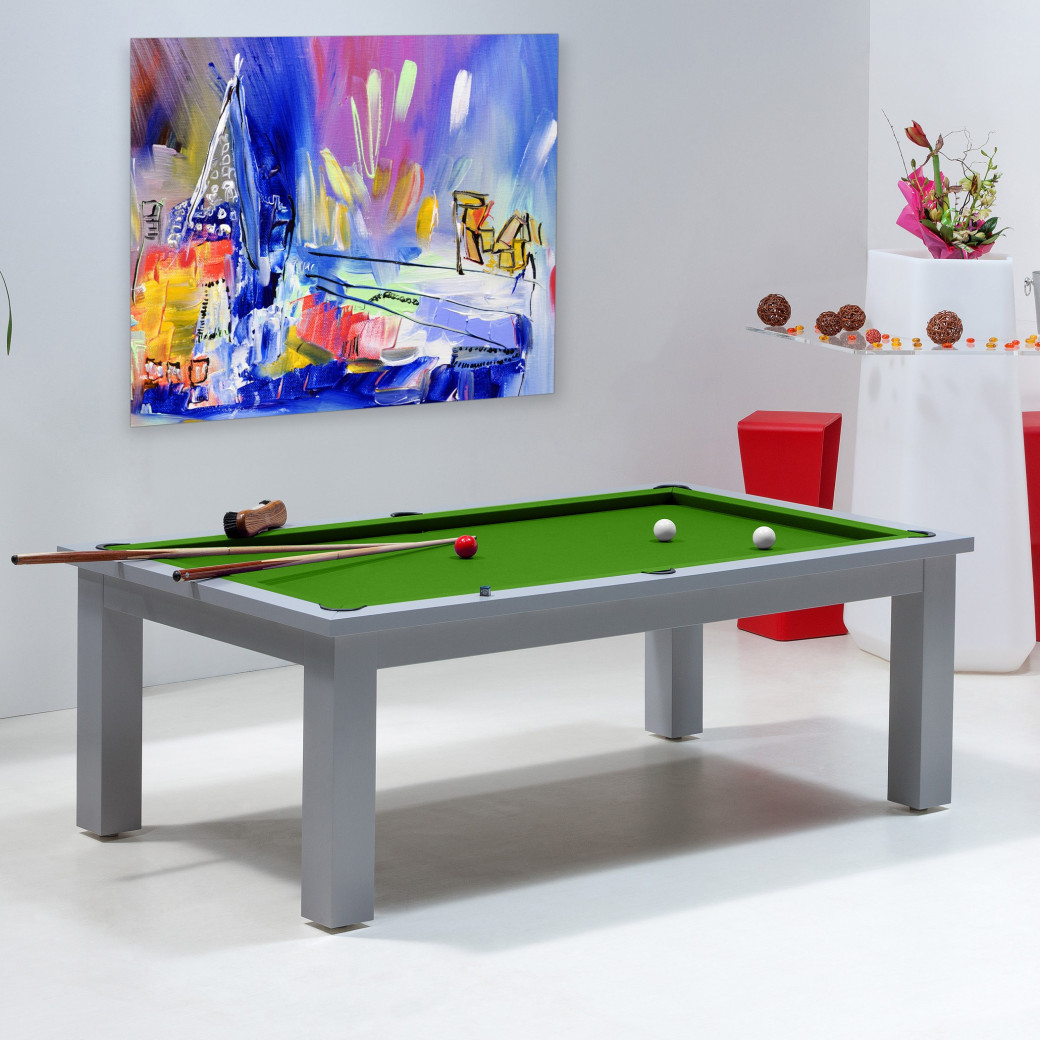 table billard convertible, billard tapis vert pool transformable