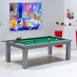 Table billard transformable, et son tapis vert jaune