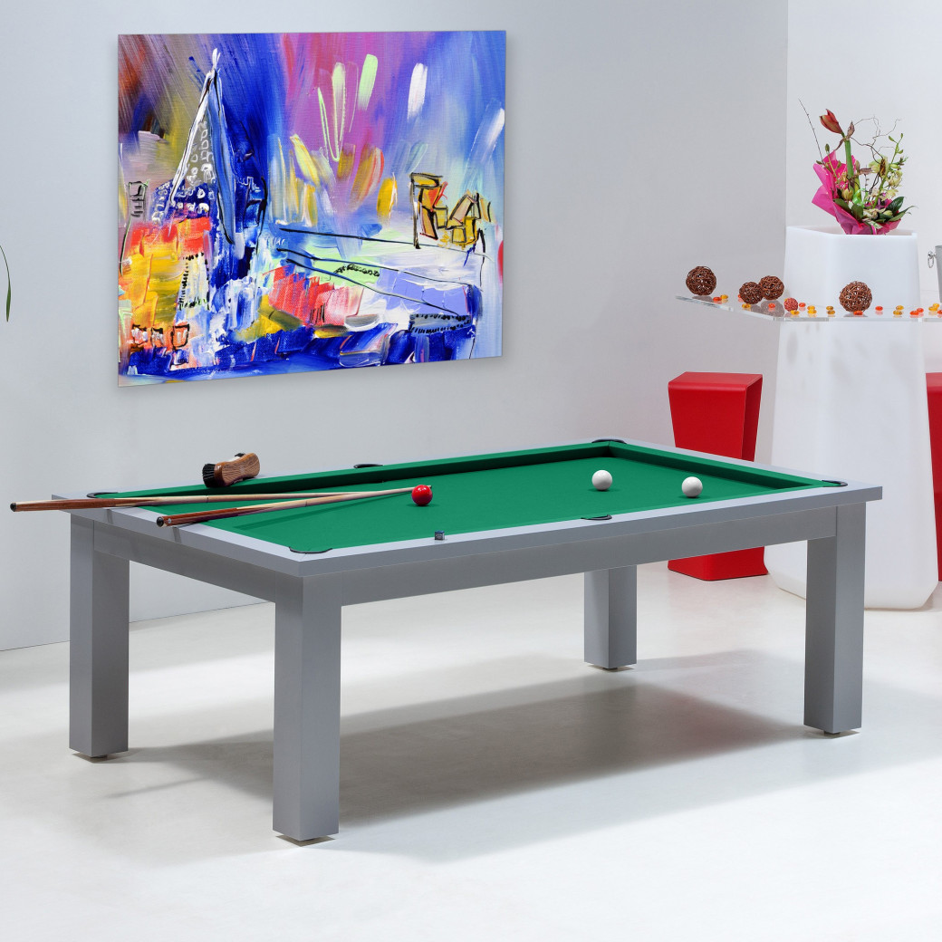Table billard transformable, et son tapis vert jaune