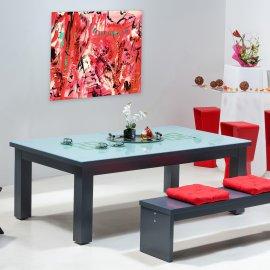 Table de billard transformable - Billard convertible en table en verre