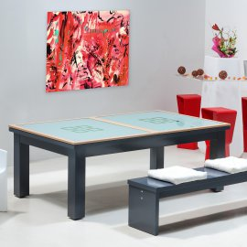 Billard transformable en table : table de séjour en verre avec cadre en bois
