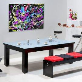 Achat billard convertible, billard noir avec table en verre