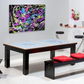 Achat billard transformable, dessus de table en verre avec cadre en bois