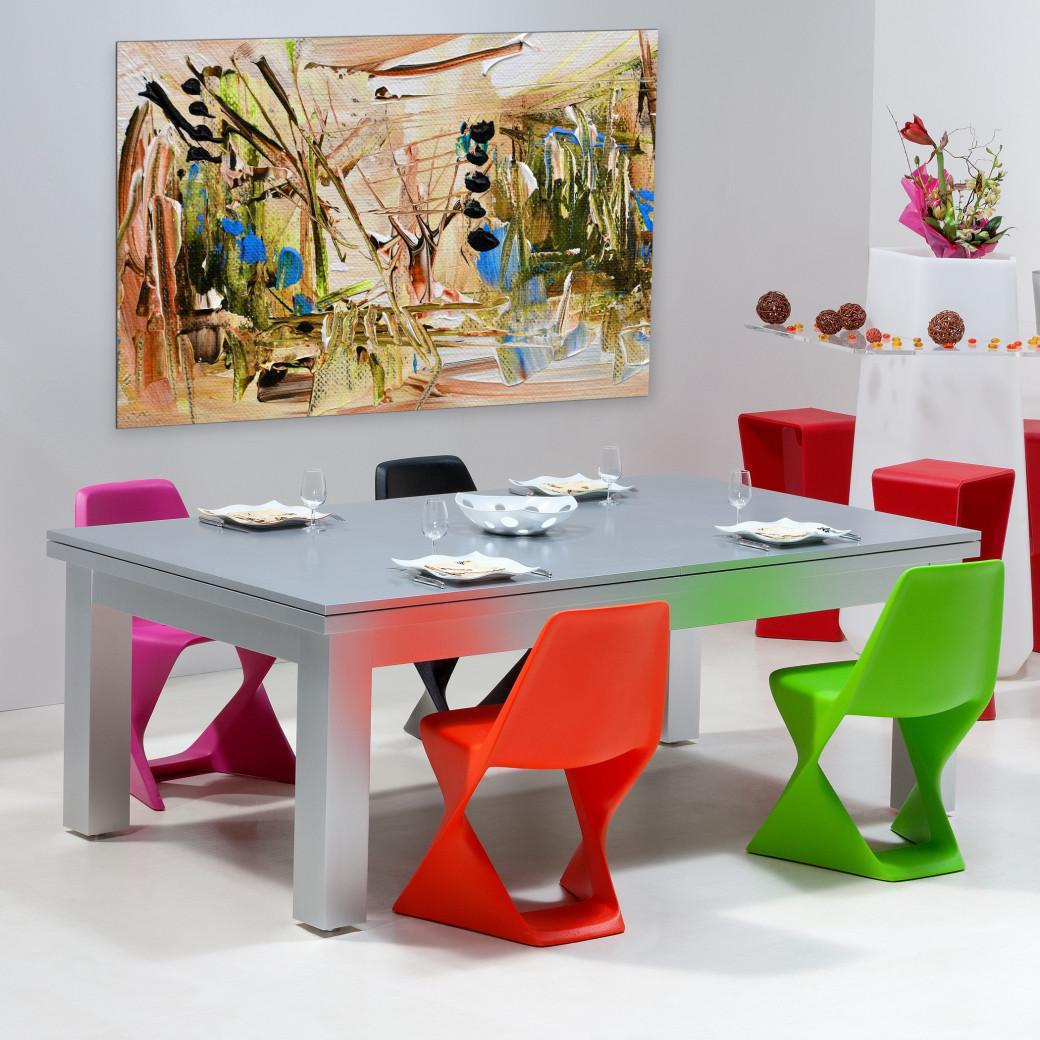 Table billard transformable, dessus de table en bois