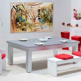 Table billard convertible, dessus de table en bois couleur inox