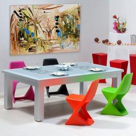 Billard convertible table, dessus de billard table en verre avec chaises de couleurs