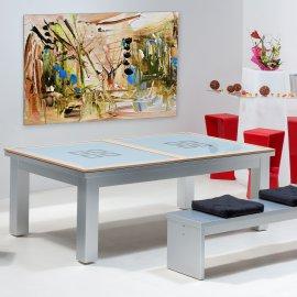 Billard : Table de billard converti en table en verre avec cadre en bois couleur inox