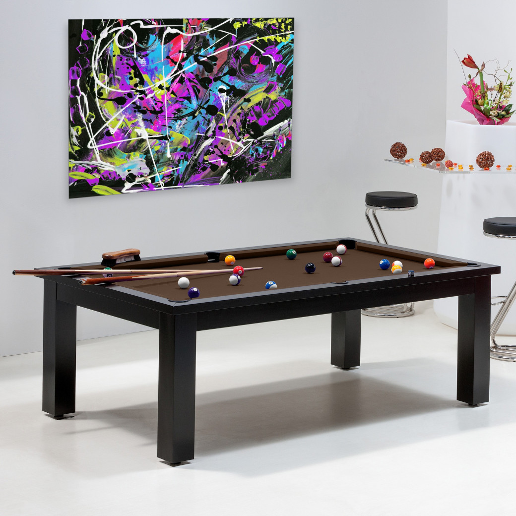 Achat billard américain : Billard table convertible avec tapis couleur chocolat