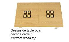 Billard transformable en table avec dessus de table bois décor à carré