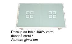 Billard convertible avec dessus de table 100% verre et décor à carré
