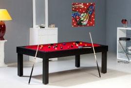 Table de billard americain bora bora noir avec tapis rouge