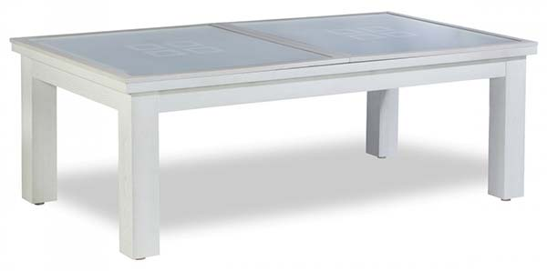 Billard table blanc en verre