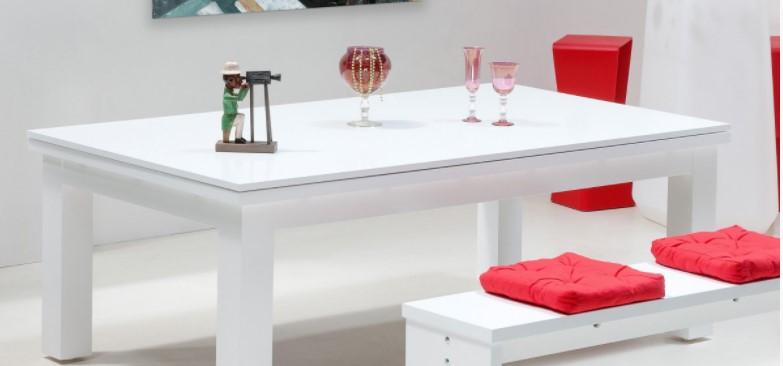 Table billard blanc laqué