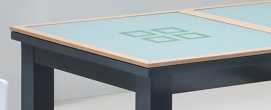 Table billard convertible en verre et cadre bois