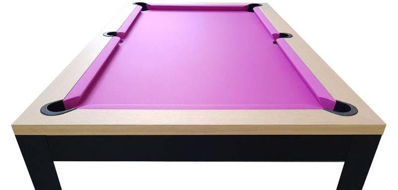 Billard industriel americain avec tapis violet et pieds métalliques