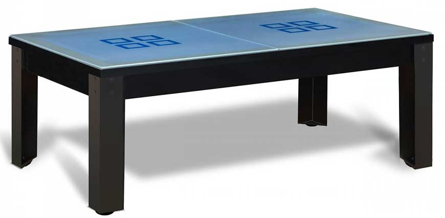 Billard table noir et pieds métalliques noirs et plateau convertible table en verre