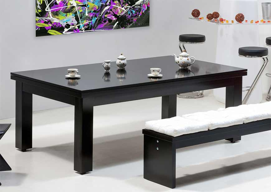 Table billard convertible noir et banc noir