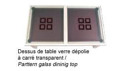 Billard table convertible avec dessus de table verre dépolie à carré transparent