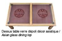 Table convertible billard avec dessus table verre dépoli asiatique